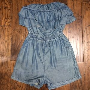 denim chambray ruffle romper